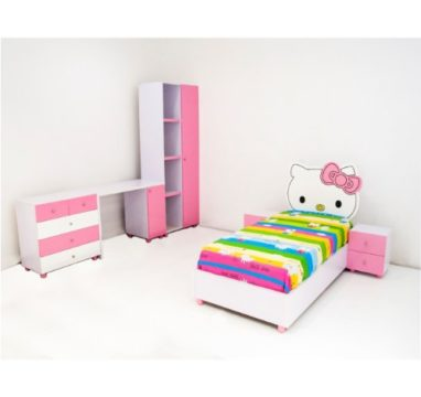 Wiki Kitty Reading table  with Kids wardrobe, dresser drawer cabinet and Wiki Kitty Kids bed with bedside drawer Concept