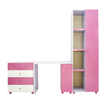 Wiki Kitty Kids Reading table with Wiki kitty Wardrobe and dresser drawer cabinet Concept