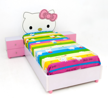 Wiki Kitty Kids Bed with Bedside Drawers