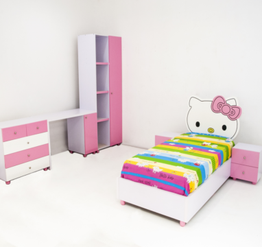 Wiki Kitty Kids Bed, bedside drawers with Wiki Kitty Wardrobe  Set Concept .