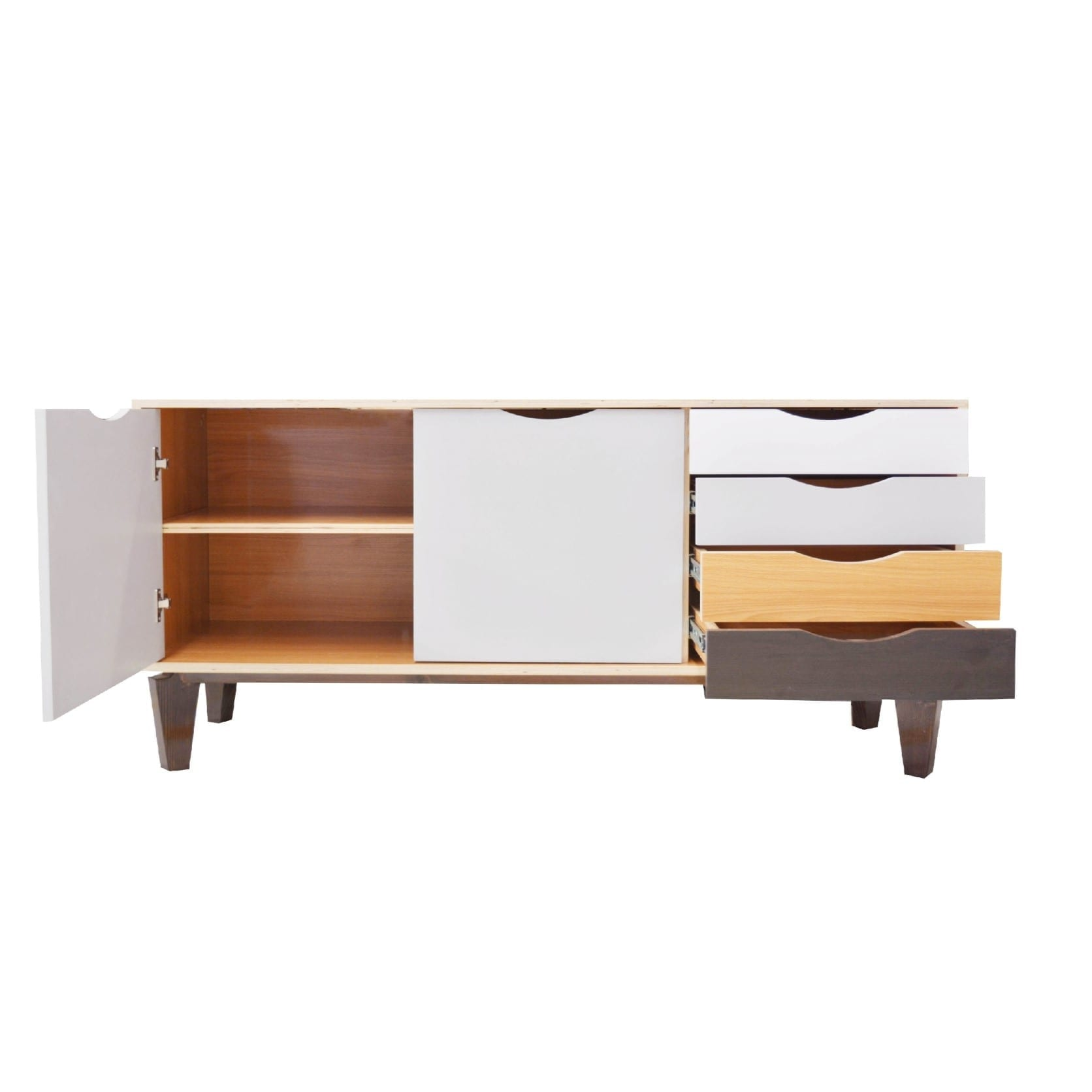 Office Credenza Made From HDF Laminate With Total Wooden Legs. Includes 2  Doors, 1 Shelf And 4 Drawer. Elegant And Multi Colored Design To Match With  Any ...